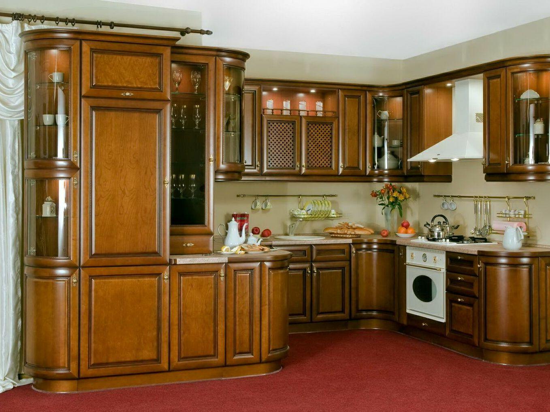 Коричневый радиусный кухонный гарнитур из дуба