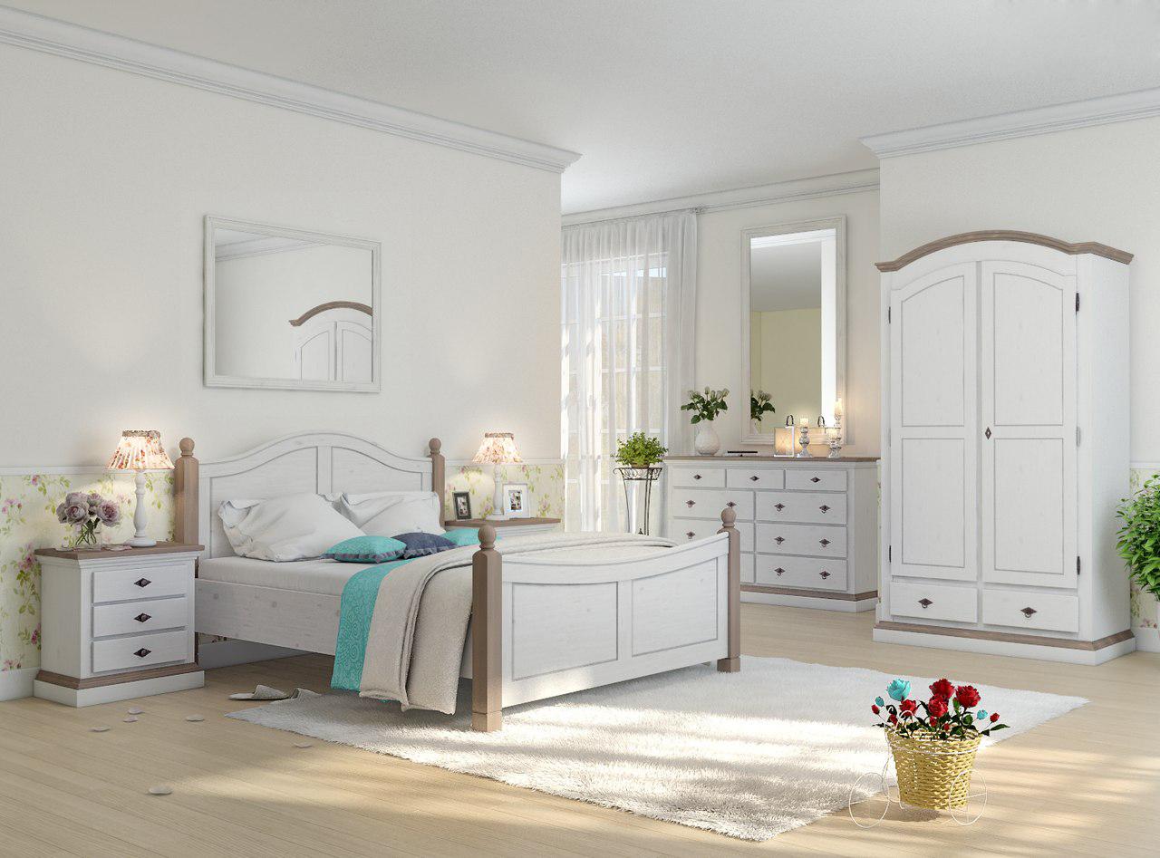 Бело-коричневая мебель из сосны в стиле кантри для спальни