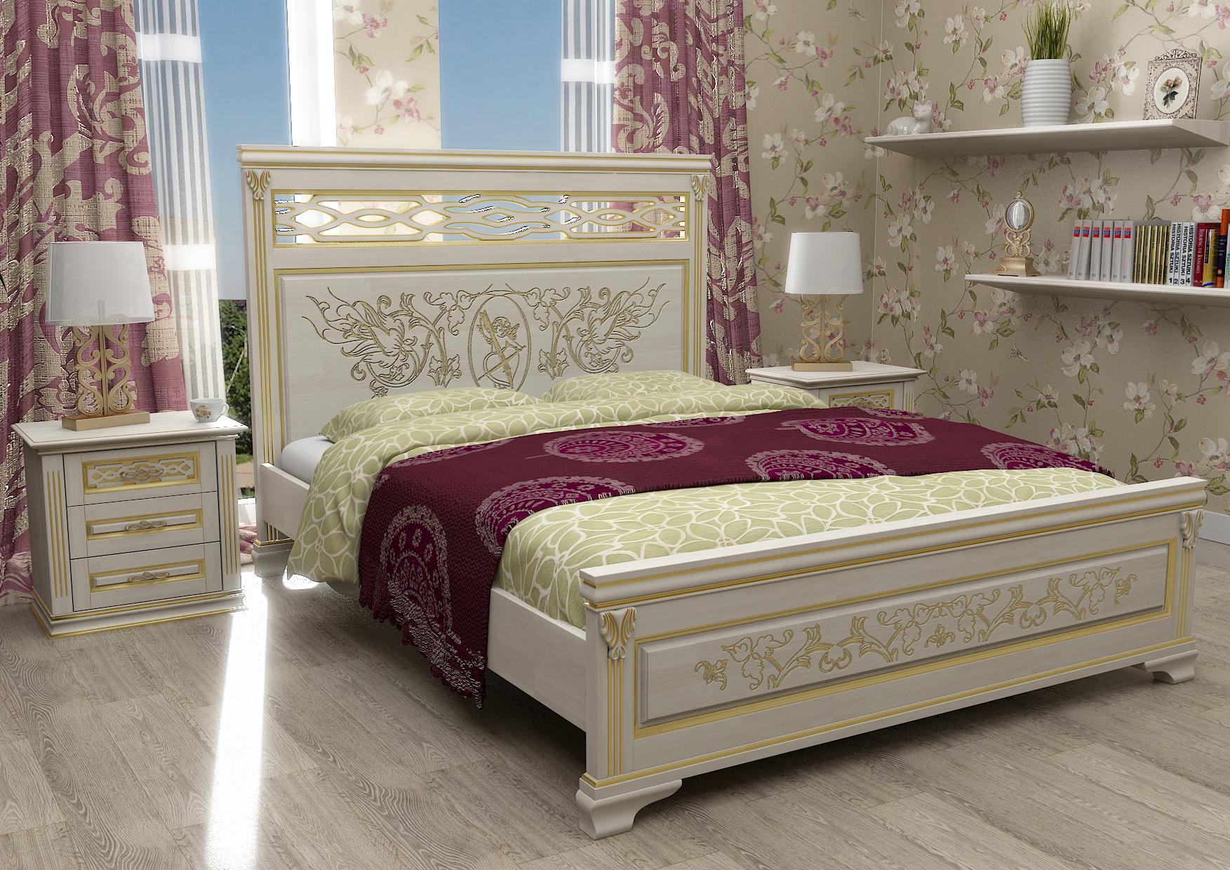 Классическая кровать и тумба из сосны в спальне