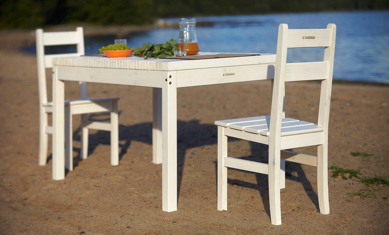 Обеденный белый стол и стулья из сосны