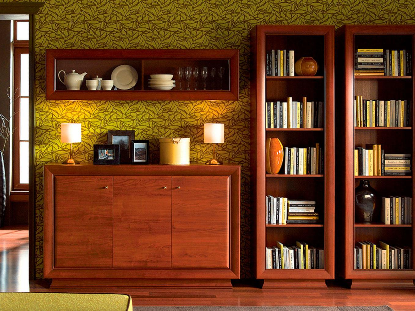 Красивая стенка из вишни в гостиной
