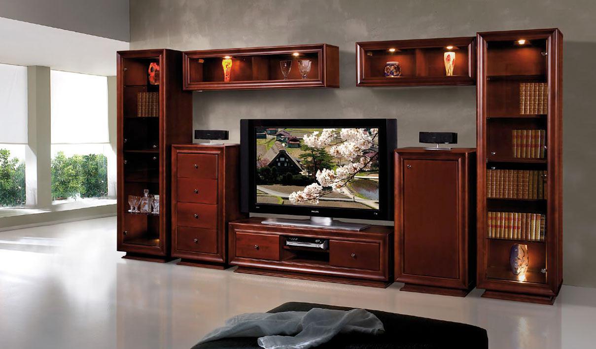 Стенка под книги и телевизор в гостиной из вишни