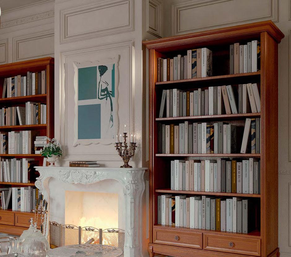 Книжные шкафы из вишни в гостиной с камином