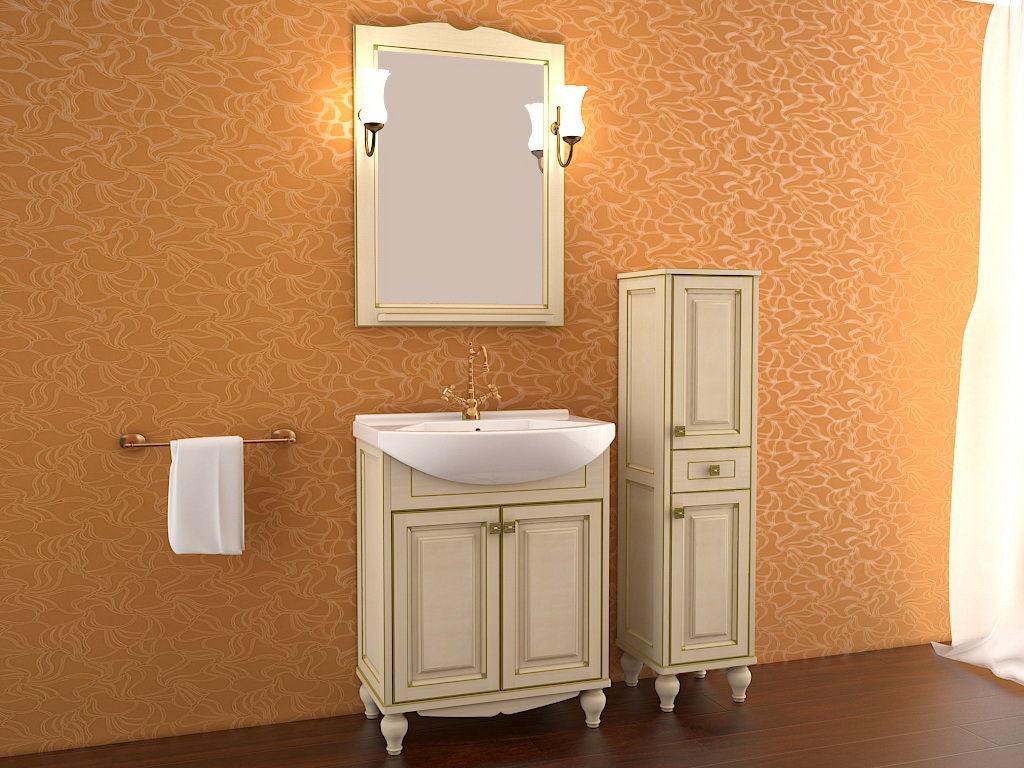 Кремовая мебель для ванной из ясеня