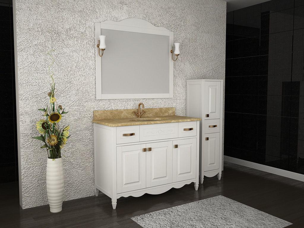 Белая мебель для ванной из ясеня