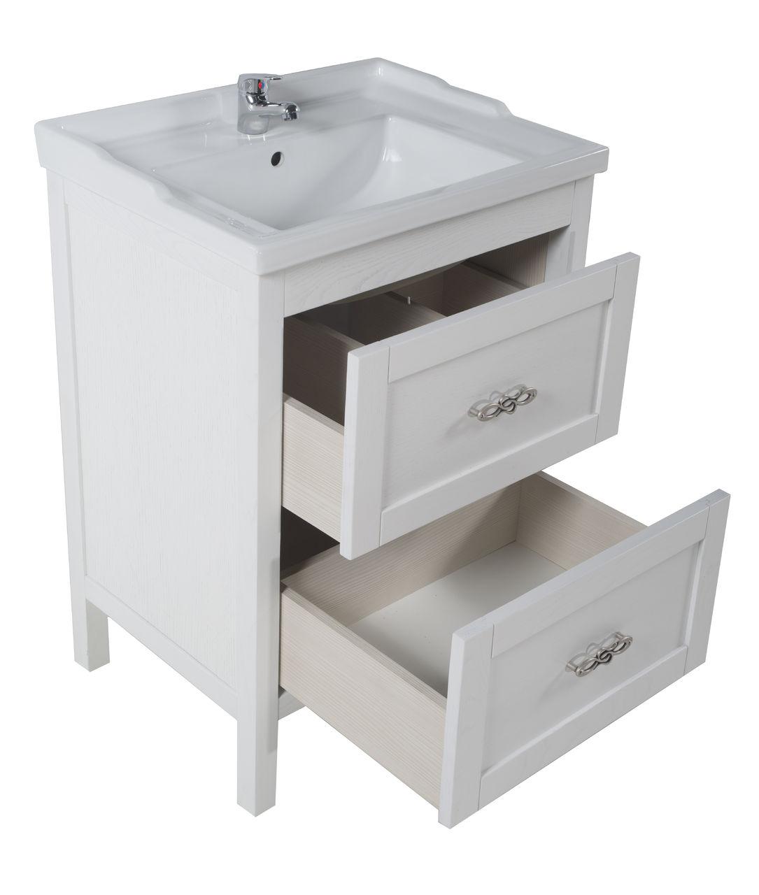 Белая тумба из ясеня для ванной комнаты