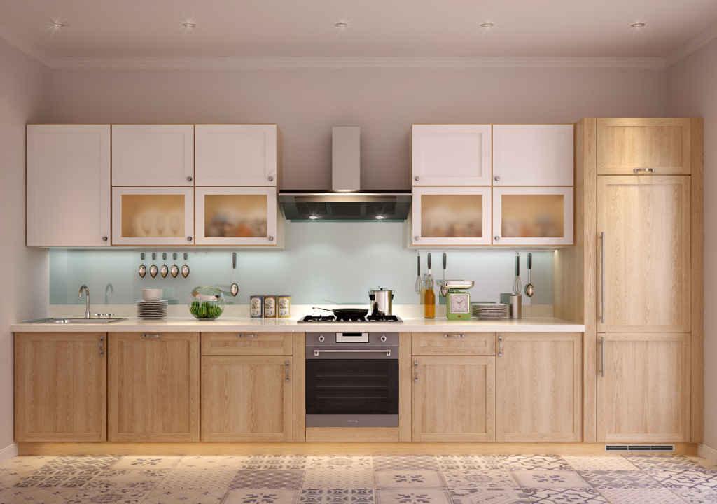 Бежево-белый кухонный гарнитур из ясеня