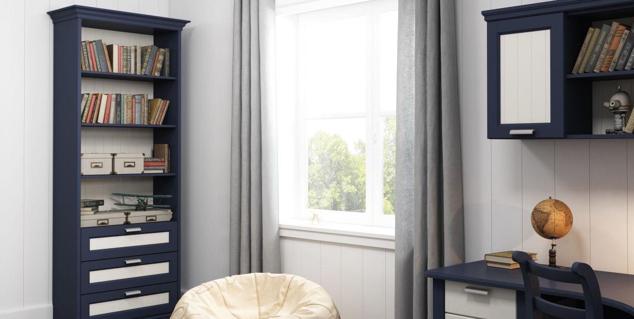 Сине-белая мебель из ясеня