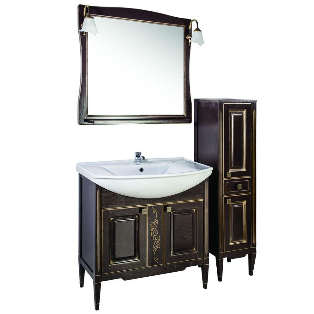 Темная мебель для ванной из ясеня