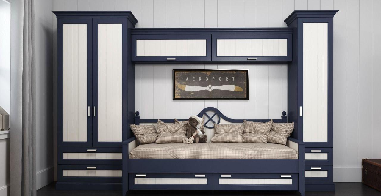 Сине-белая детская мебель
