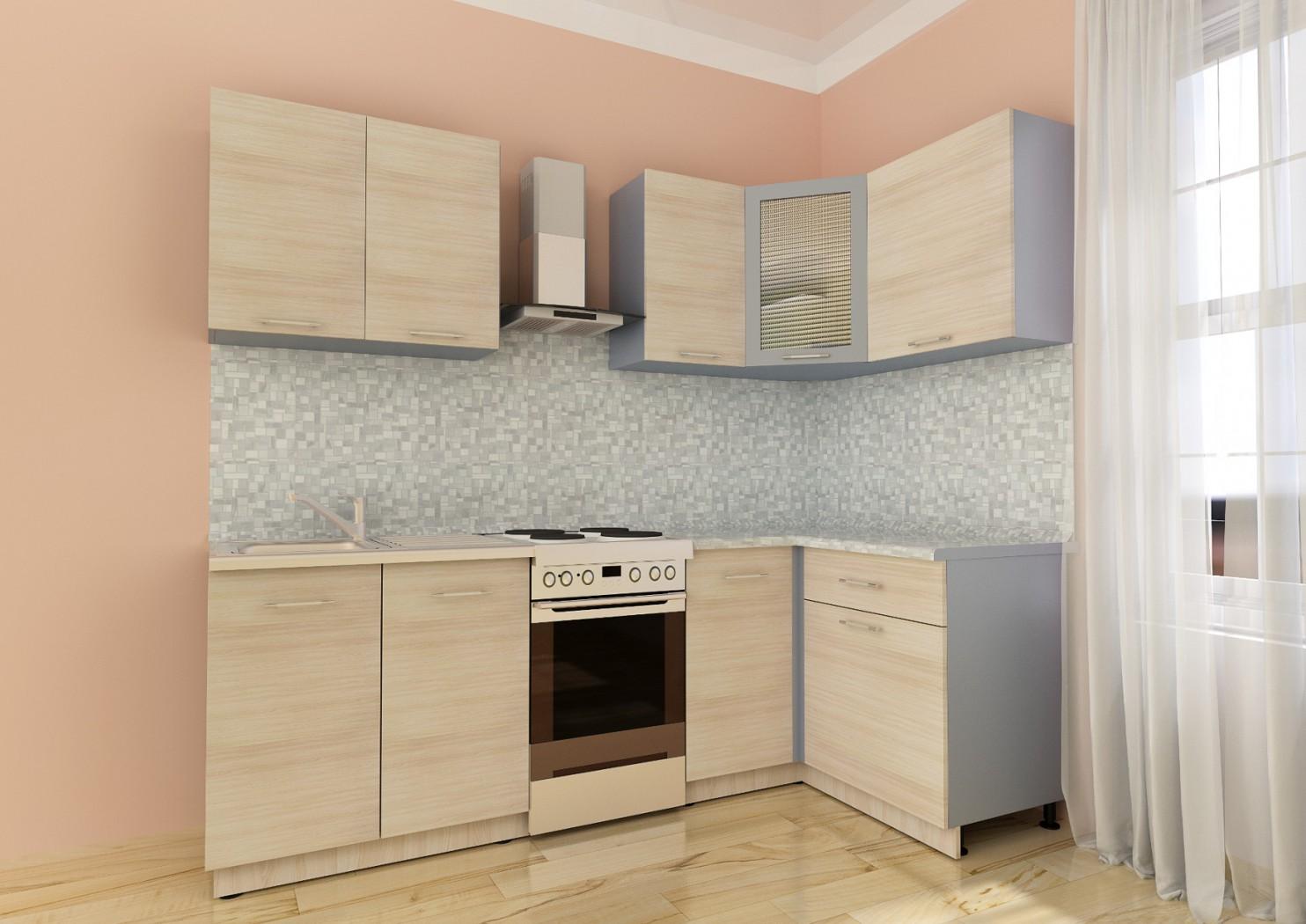 Небольшой угловой кухонный гарнитур из ясеня