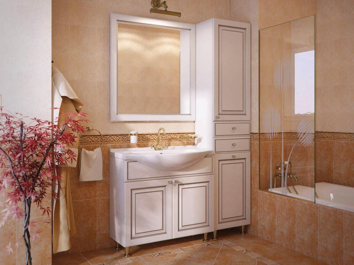 Белая тумба из ясеня в бежевой ванной