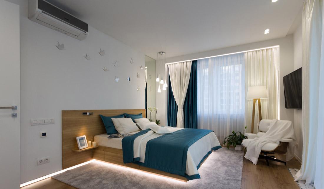 Кровать из ясеня с подсветкой