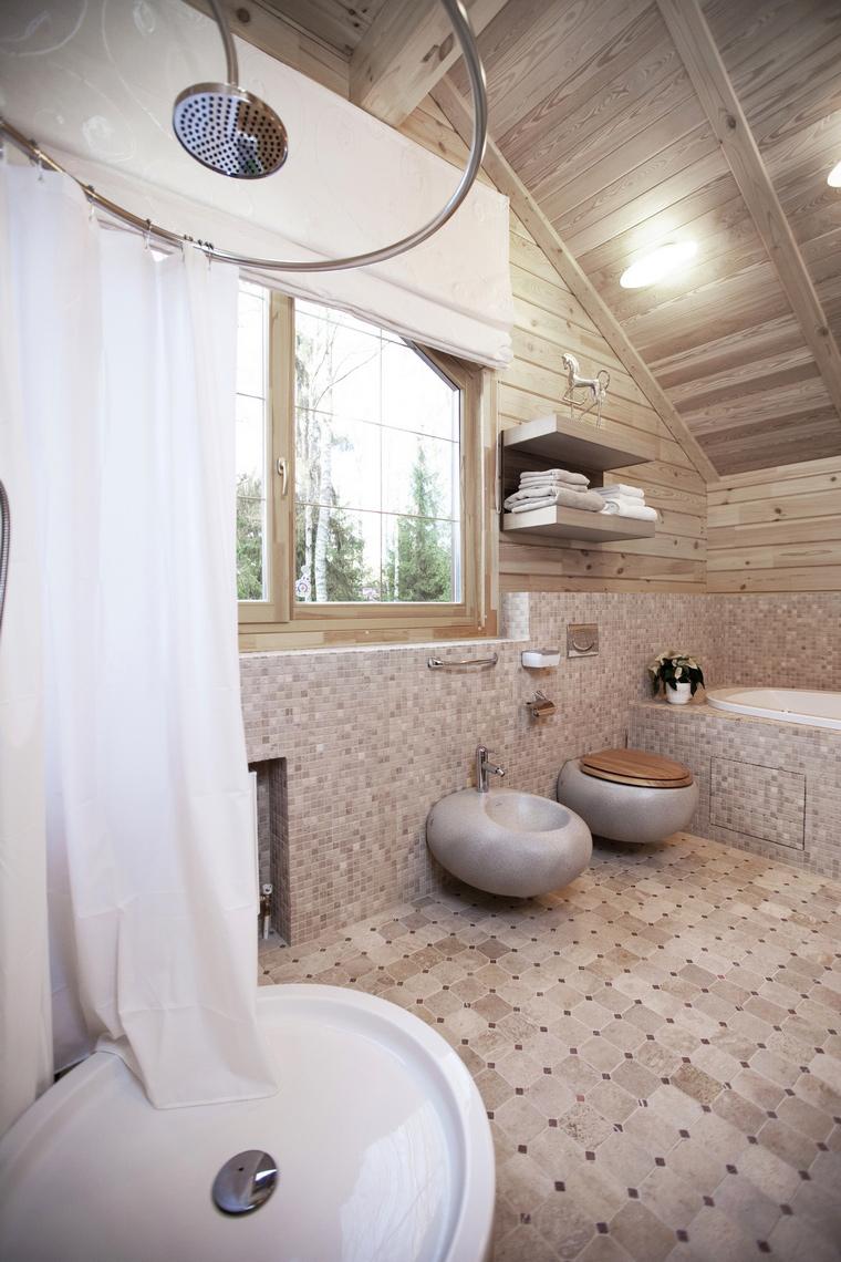 Отделка ванной комнаты орехом