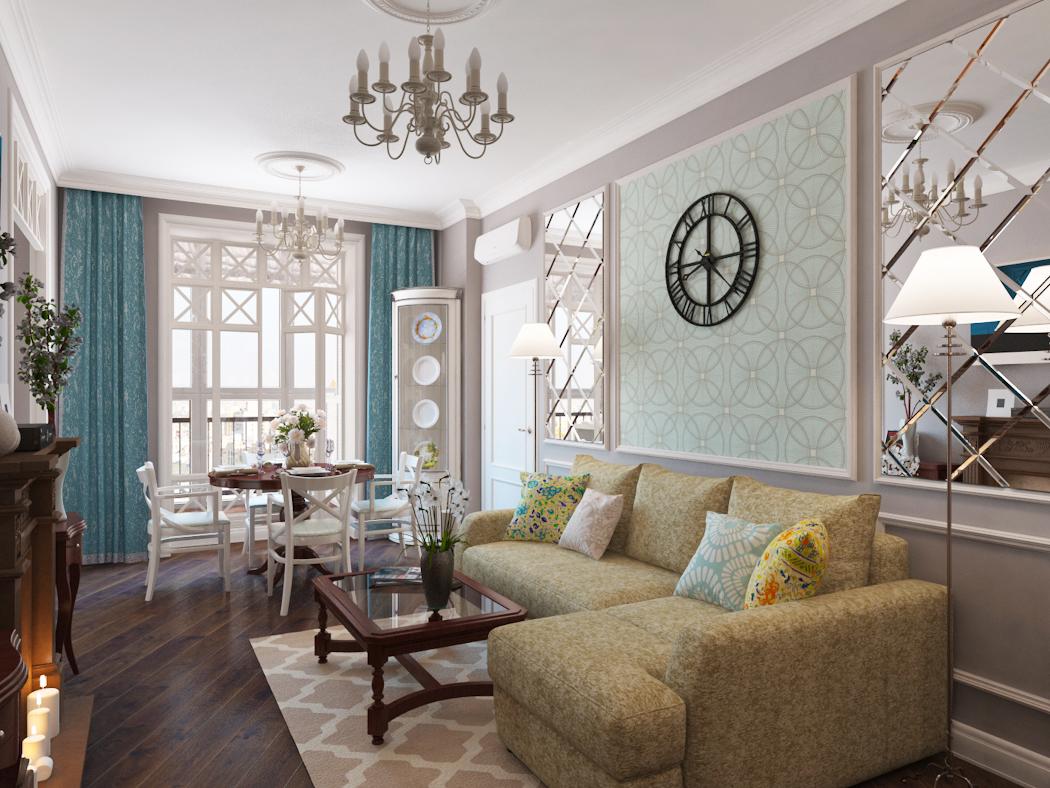 Красивая мебель в гостиной в стиле прованс