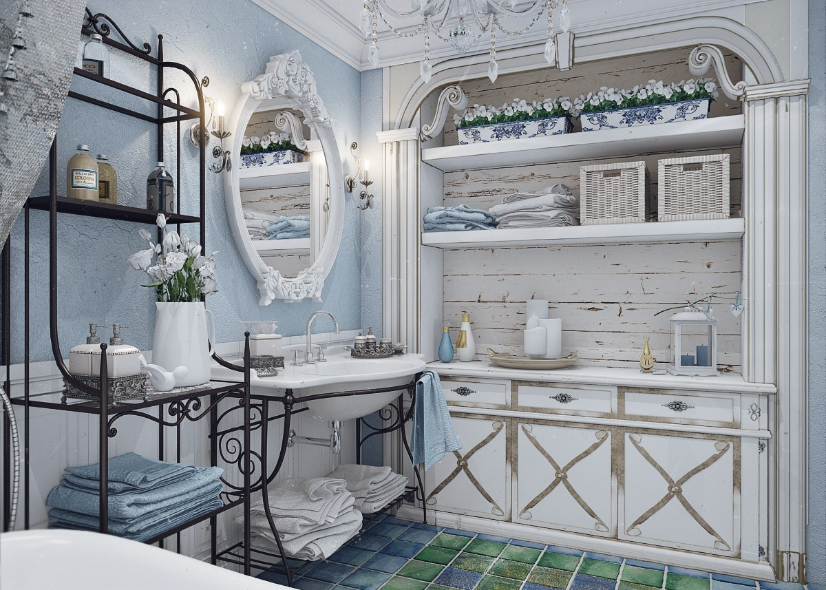 Бело-голубая ванная в стиле прованс