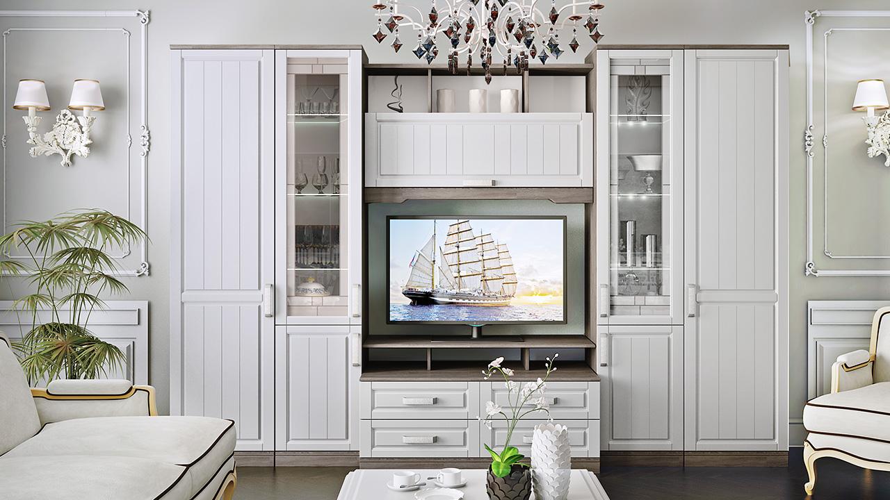 Стенка в гостиную в стиле прованс
