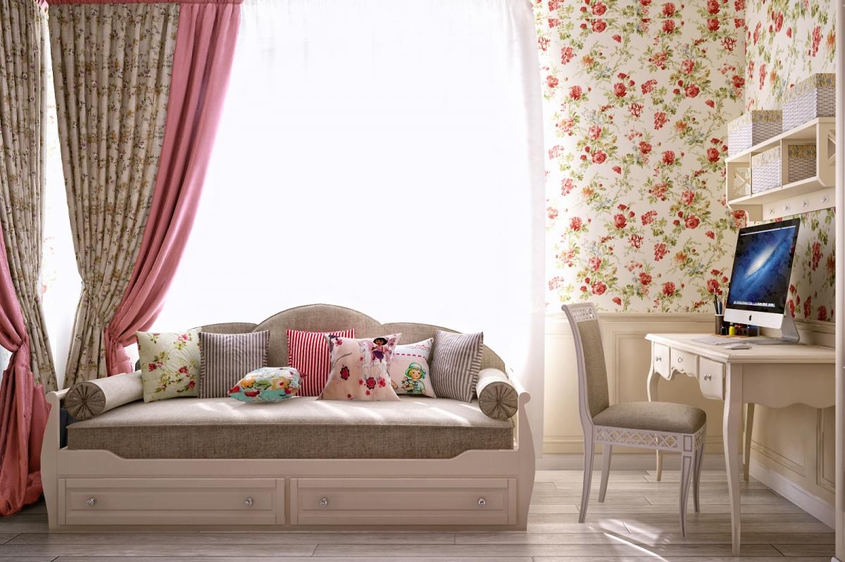 Бело-бежевая мебель для детской комнаты в стиле прованс