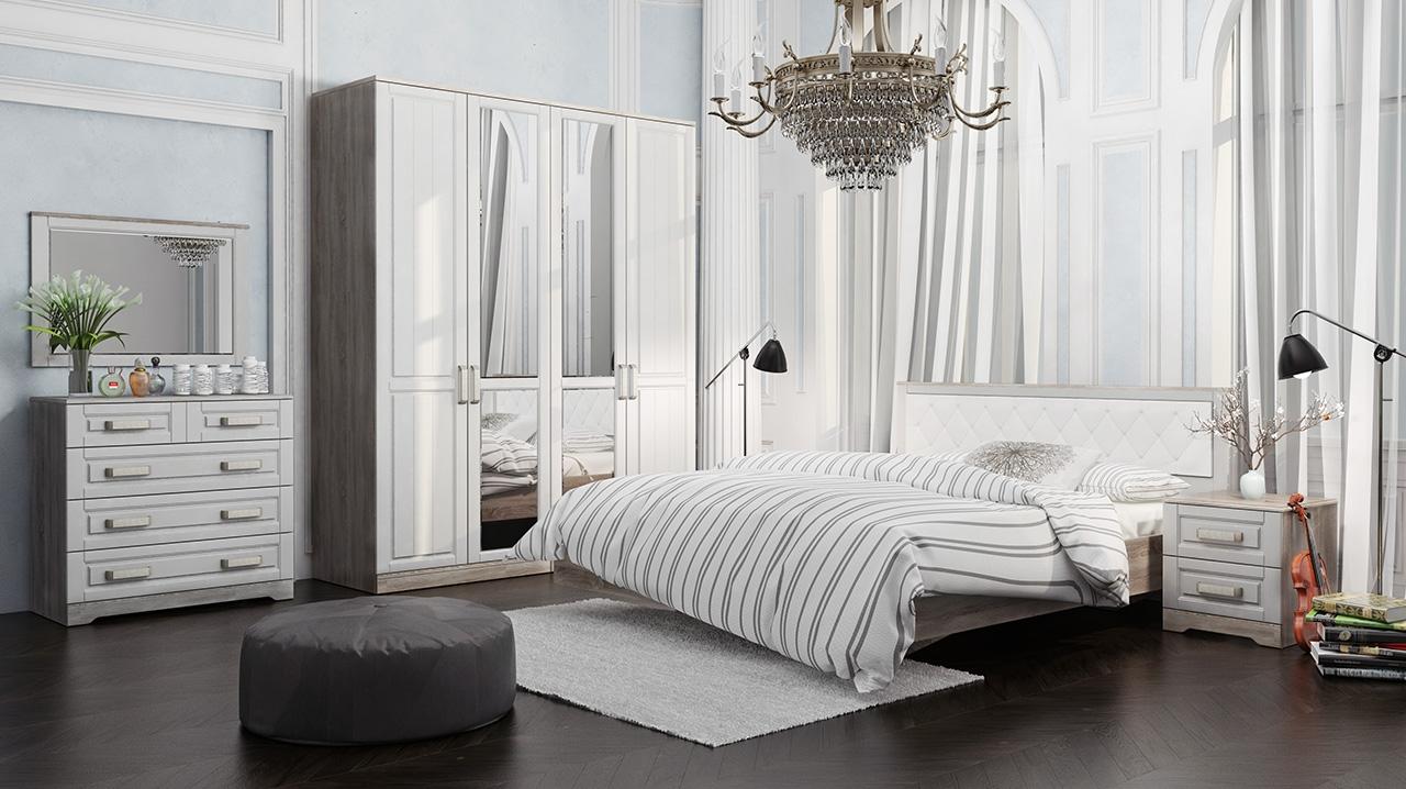 Бело-серая мебель в спальне в стиле прованс