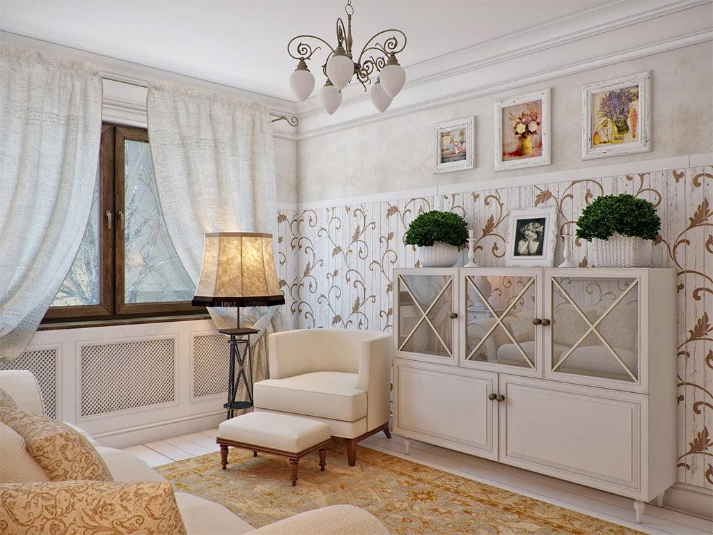 Бежево-коричневая мебель в гостиной в стиле прованс