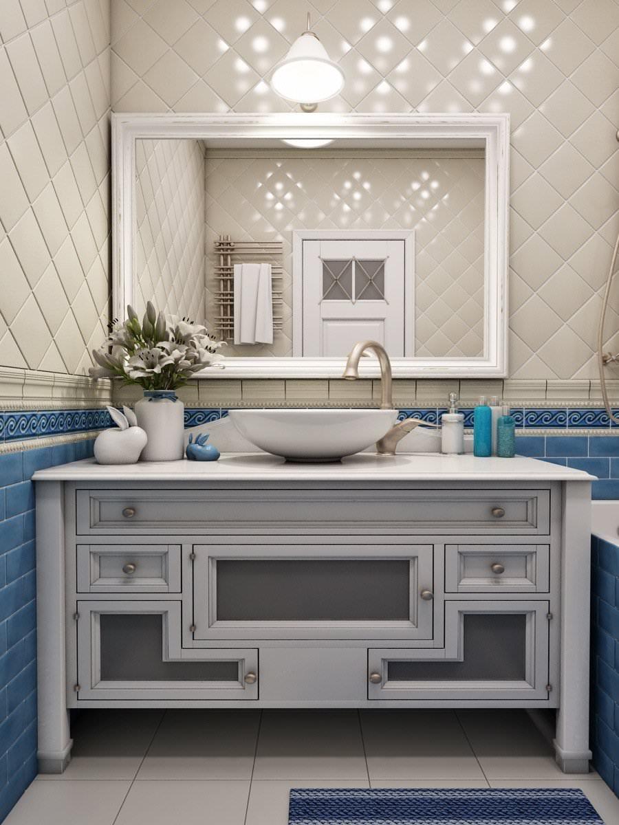 Белая тумба под раковину в ванной в стиле прованс
