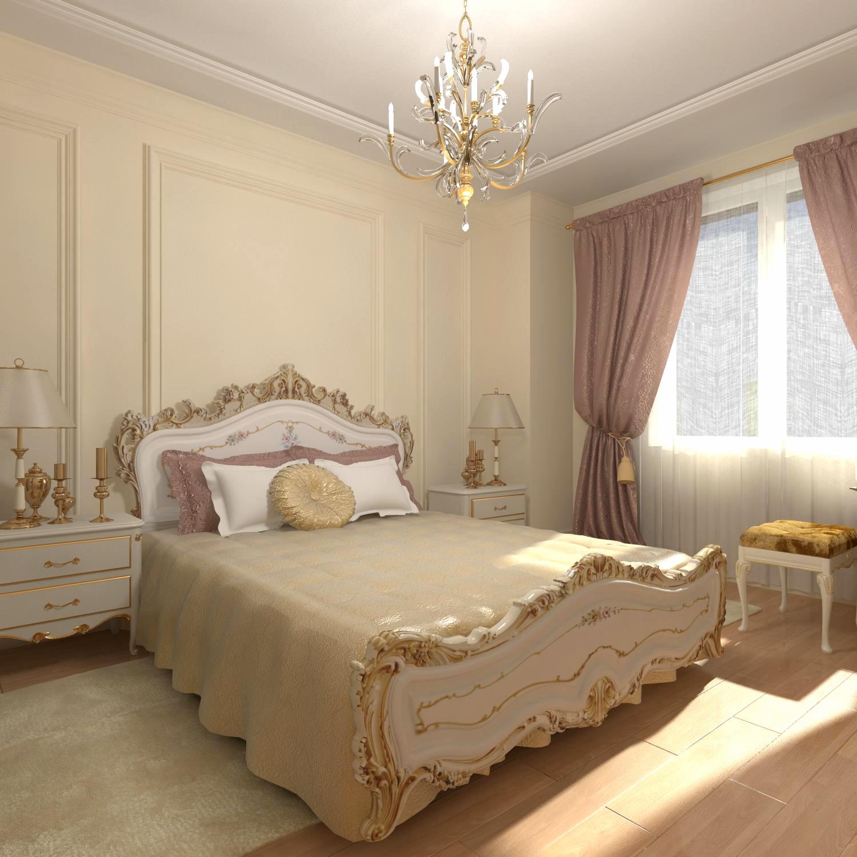 Бело-золотистая мебель в спальне в классическом стиле