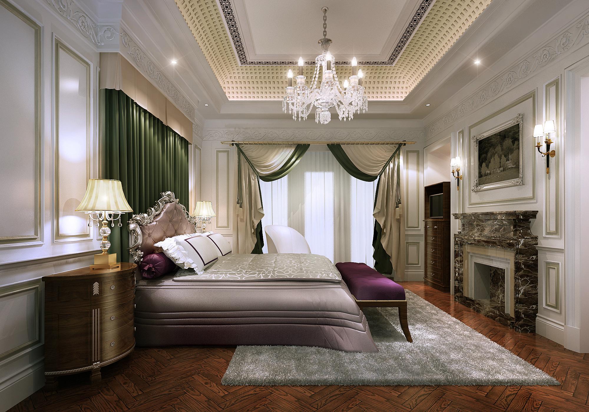 Красивая мебель в спальне в классическом стиле