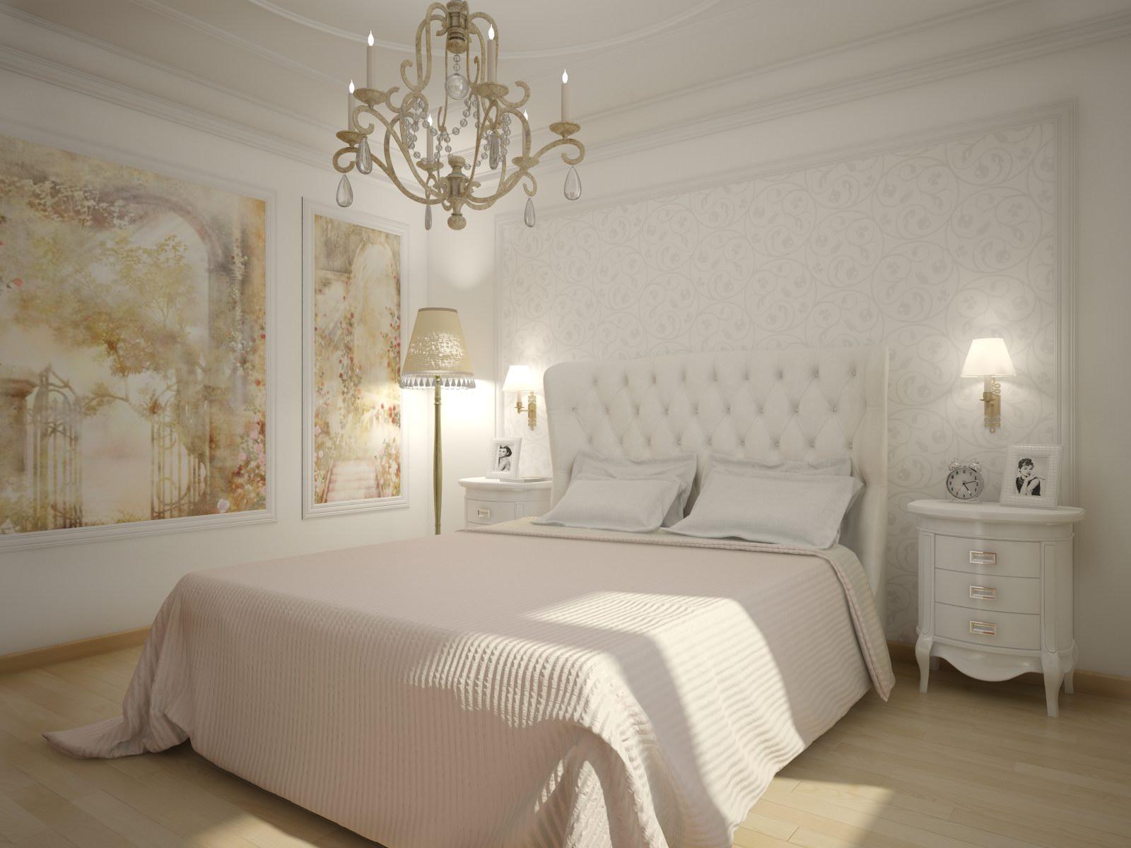 Белая мебель в спальне в классическом стиле