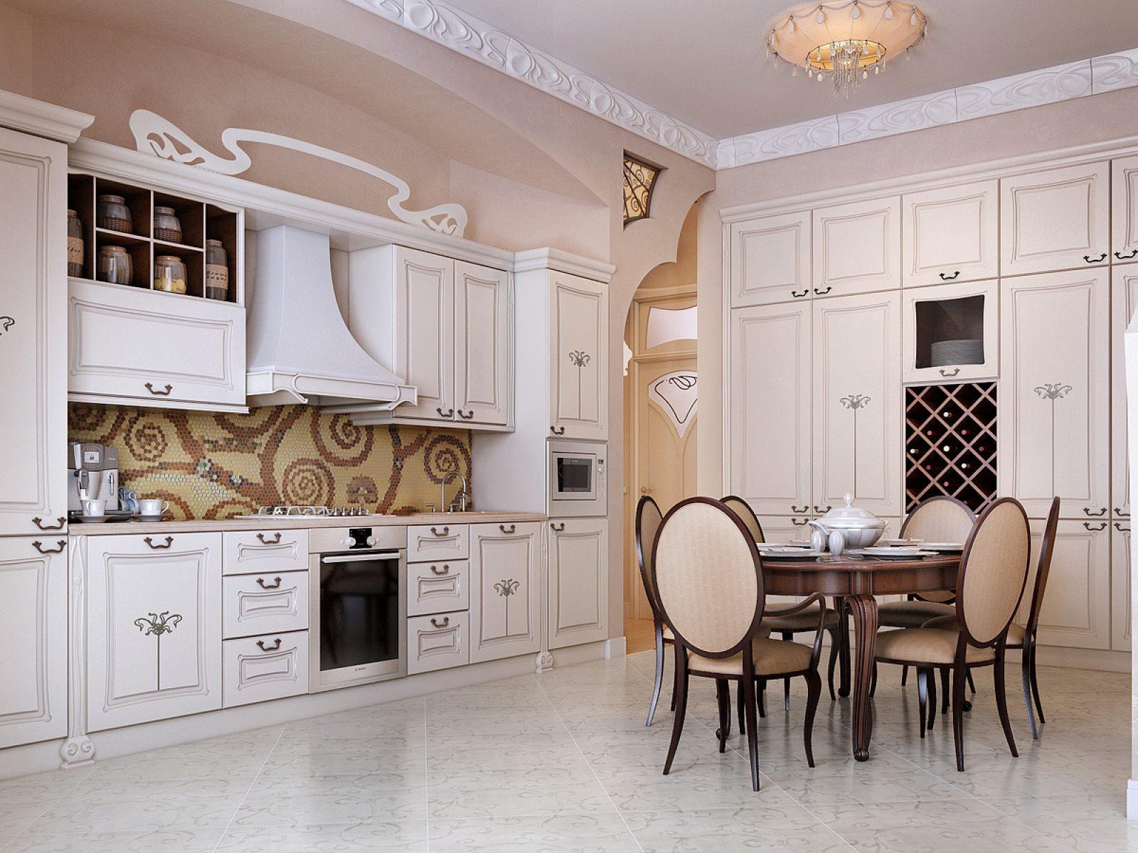 Белая и бежево-коричневая мебель на кухне в классическом стиле
