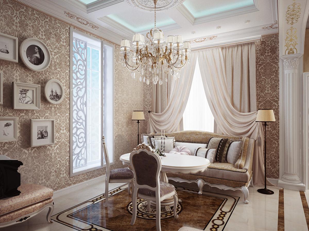 Мягкий диван на кухне в классическом стиле