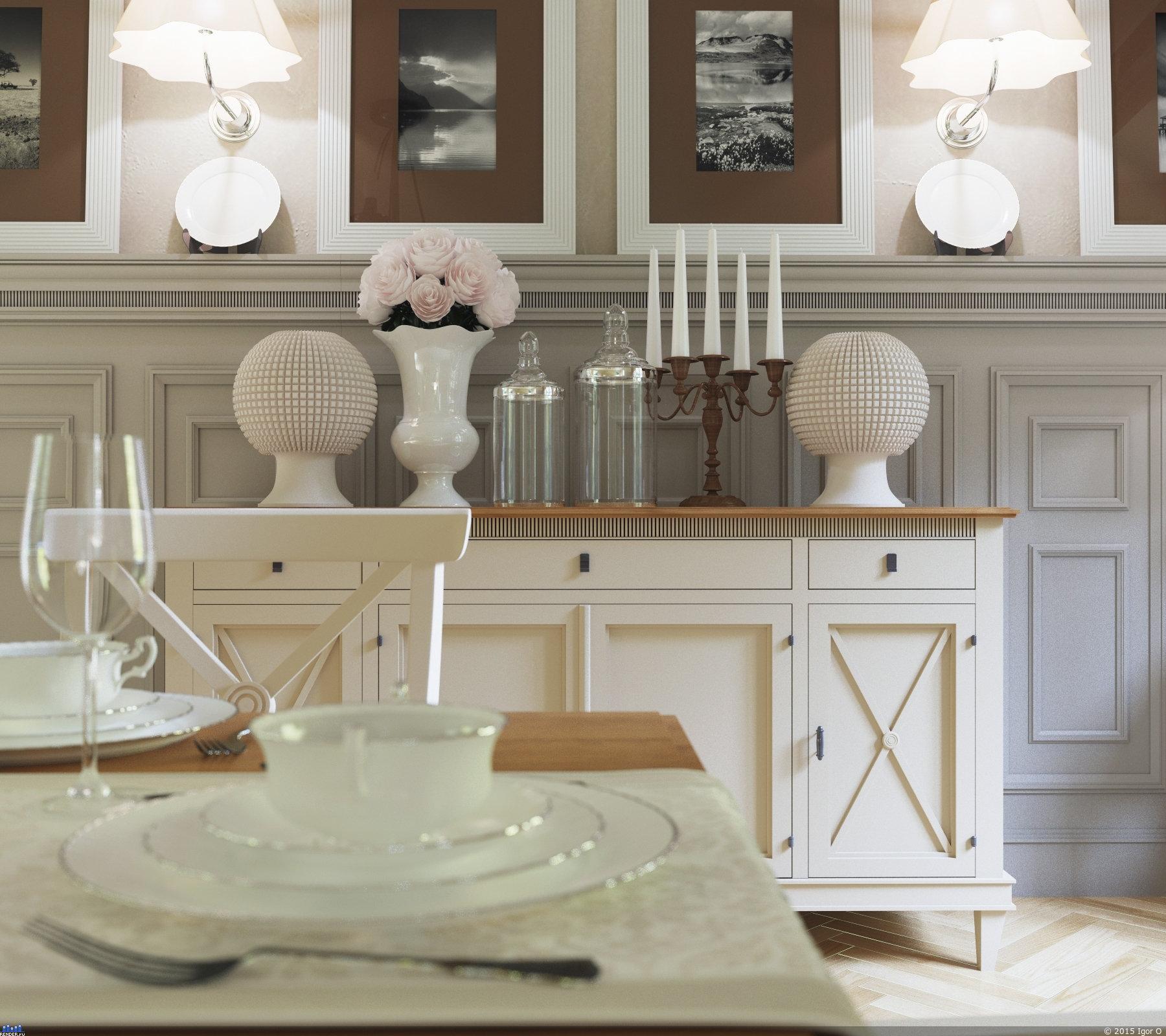 Светлая мебель в классическом стиле в столовой