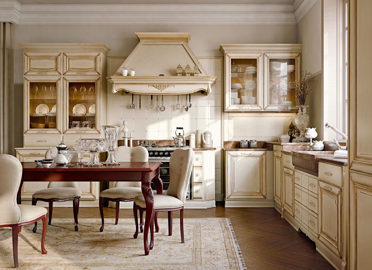Бежево-коричневая мебель на кухне в классическом стиле