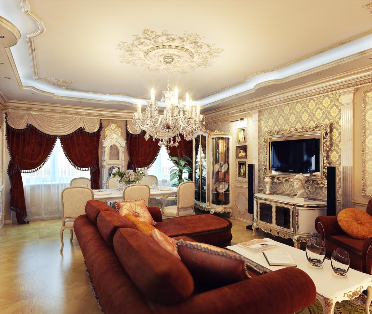 Красная мягкая мебель в классической гостиной
