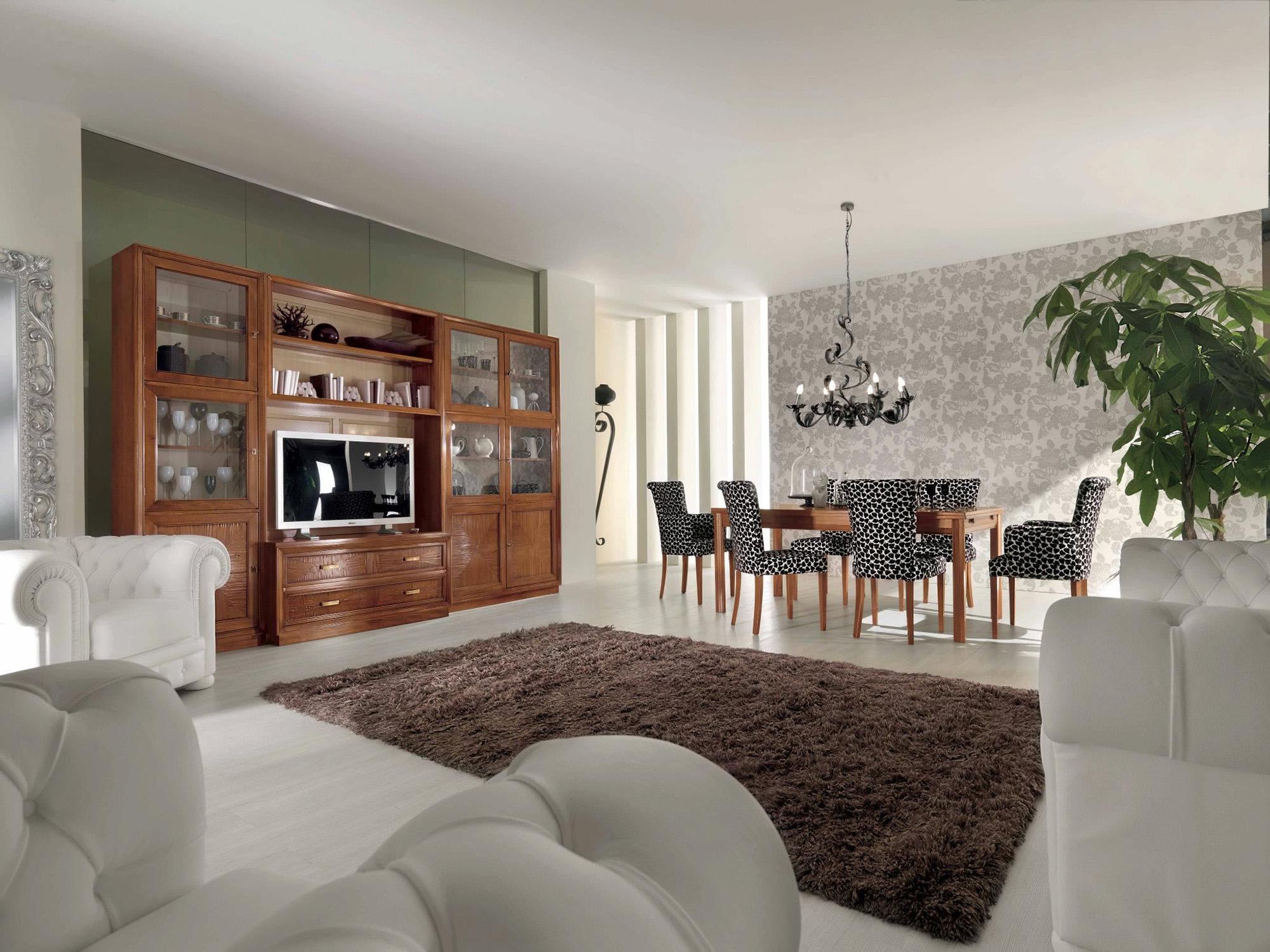Коричневая и белая мебель в гостиной-столовой в классическом стиле
