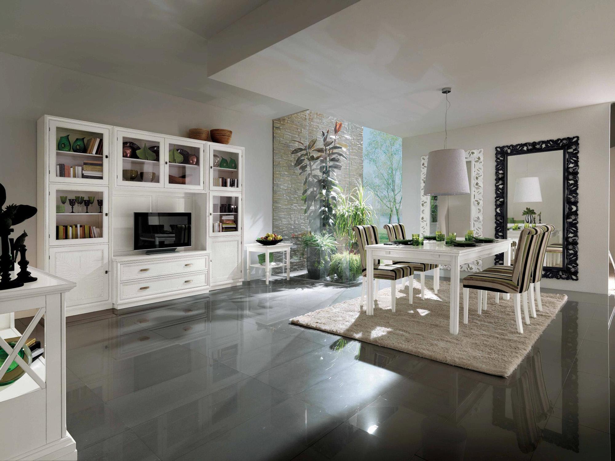 Белая мебель в гостиной-столовой в классическом стиле