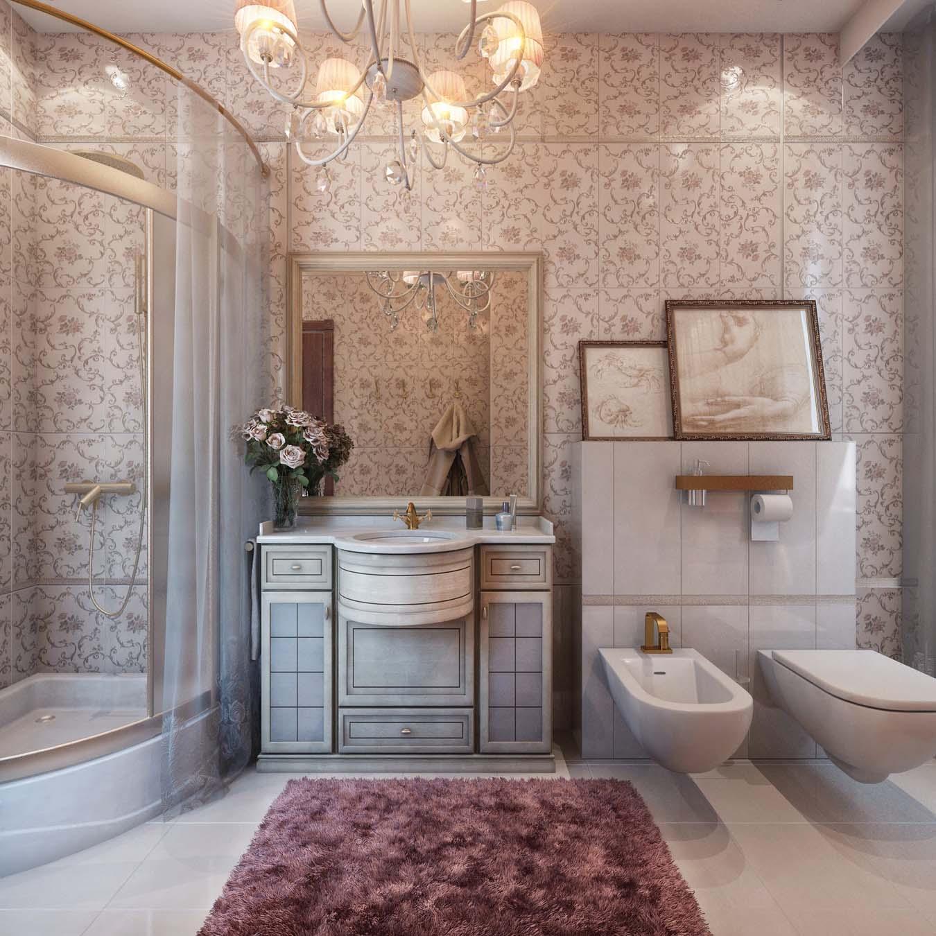 Бело-сиреневая ванная в классическом стиле