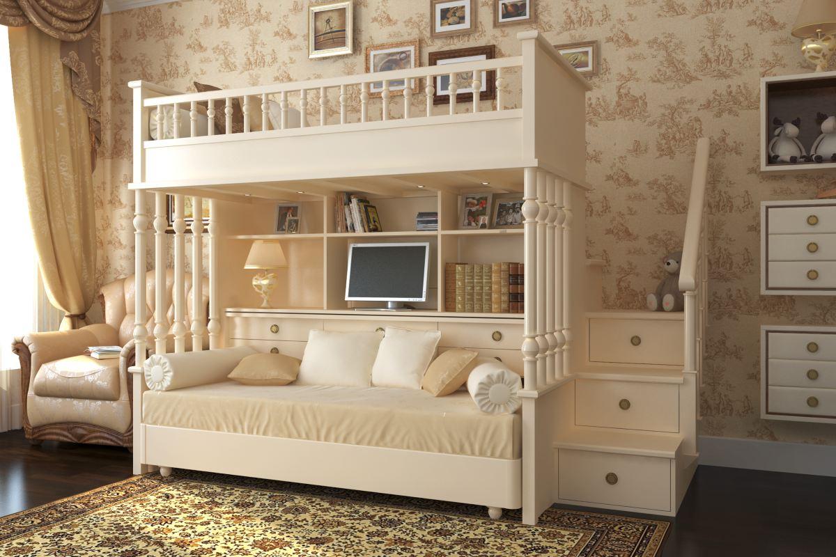 Корпусная мебель в классической детской бежевого цвета