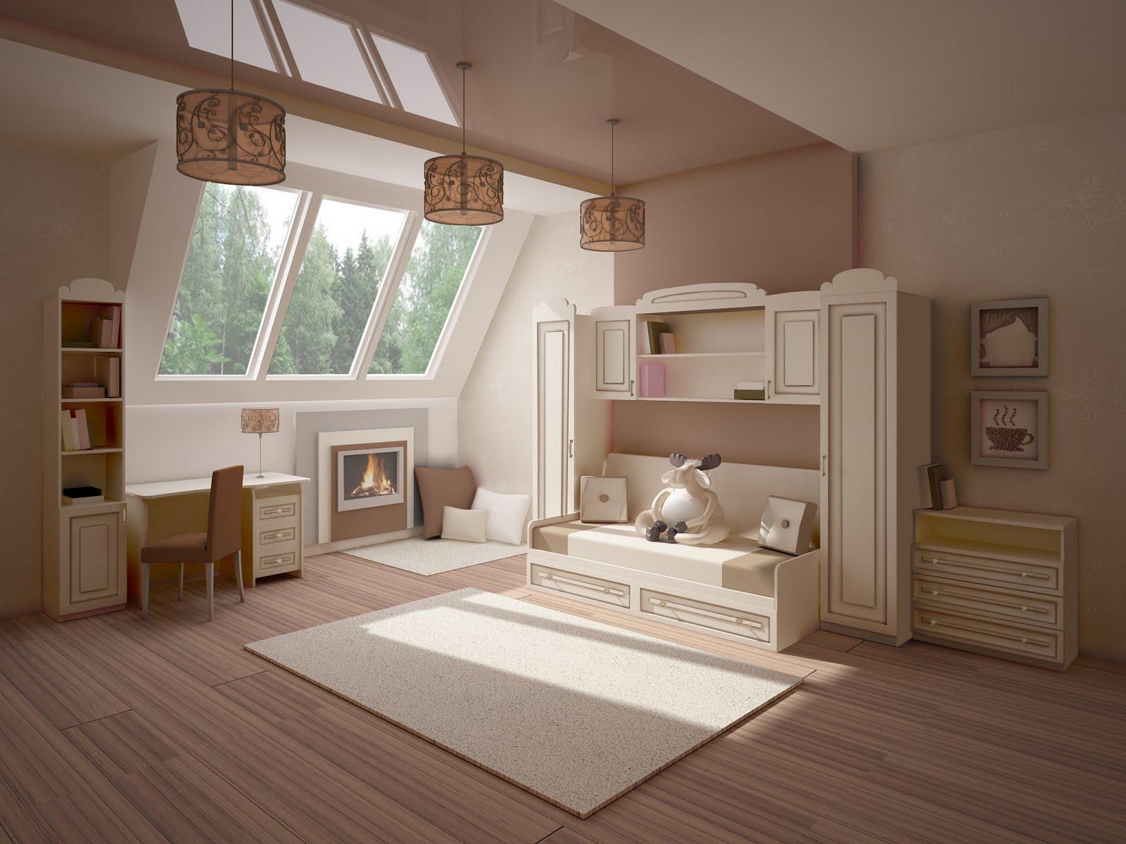 Бежевая корпусная мебель в классической детской
