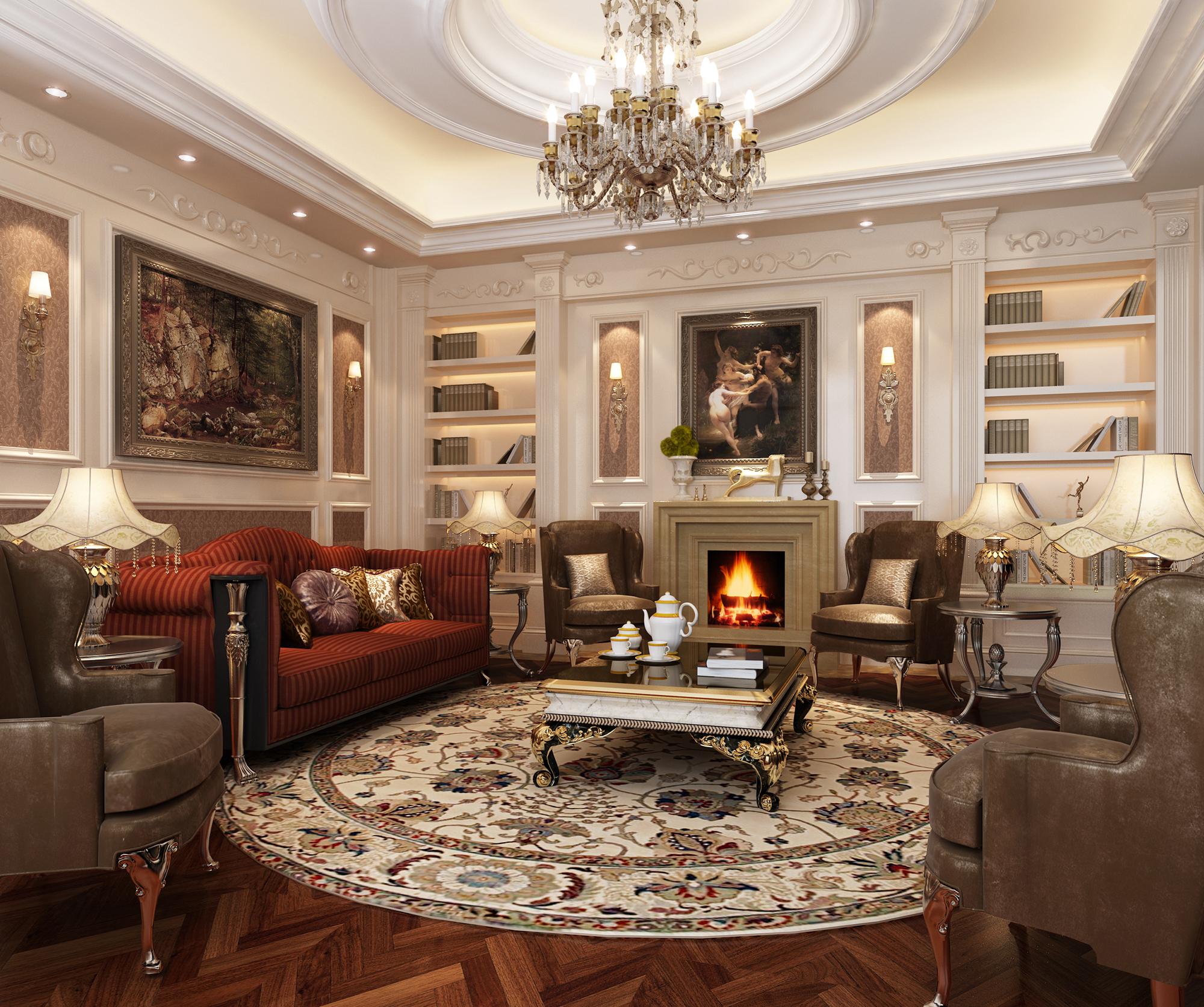 Красная и коричневая мебель в классическом стиле в гостиной