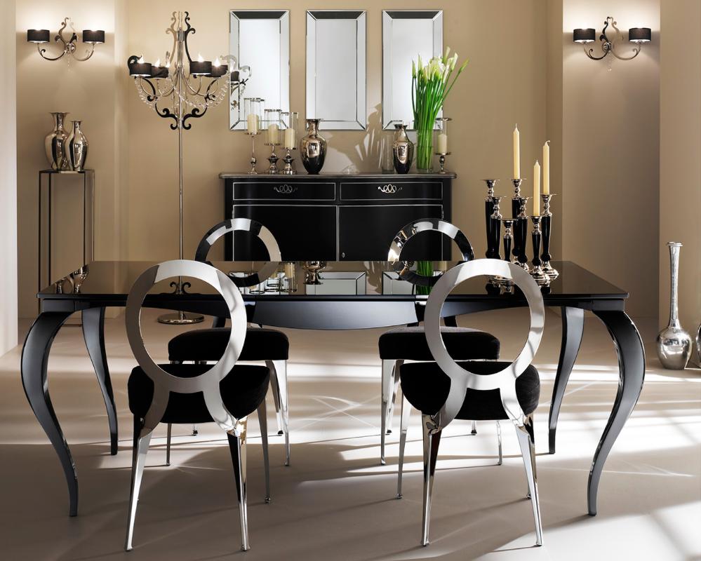 Обеденный стол и стулья на кухне в стиле арт-деко
