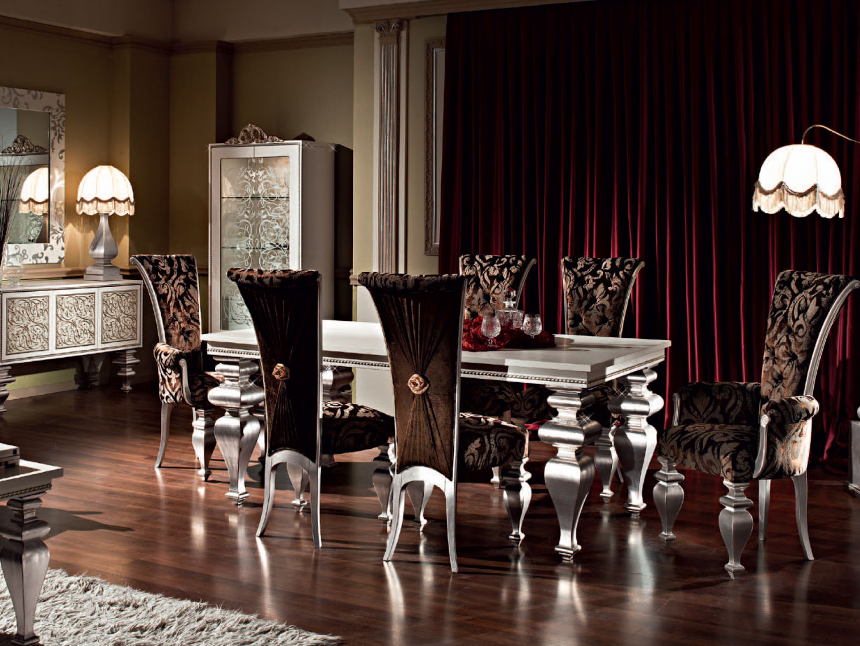 Серебристо-коричневая мебель в столовой в стиле арт-деко