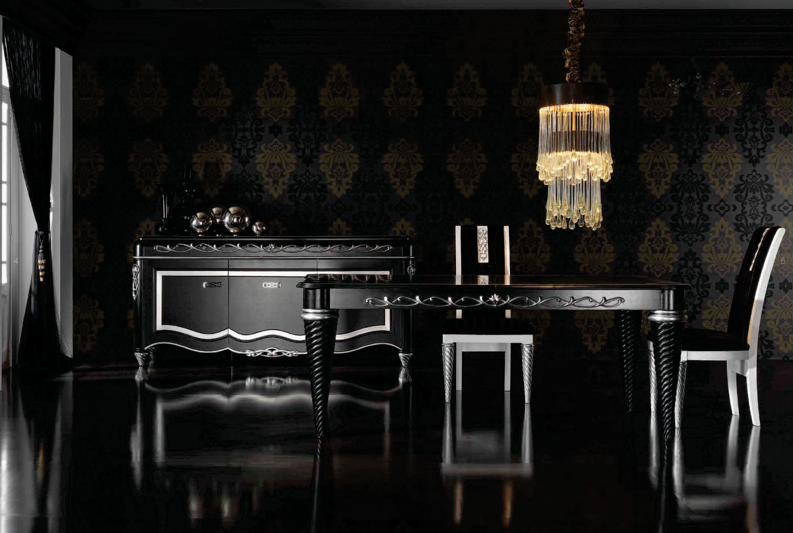 Серебристо-черная мебель в столовой в стиле арт-деко