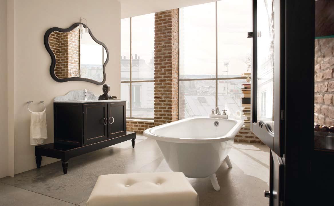 Черная мебель в стиле арт-деко в ванной комнате