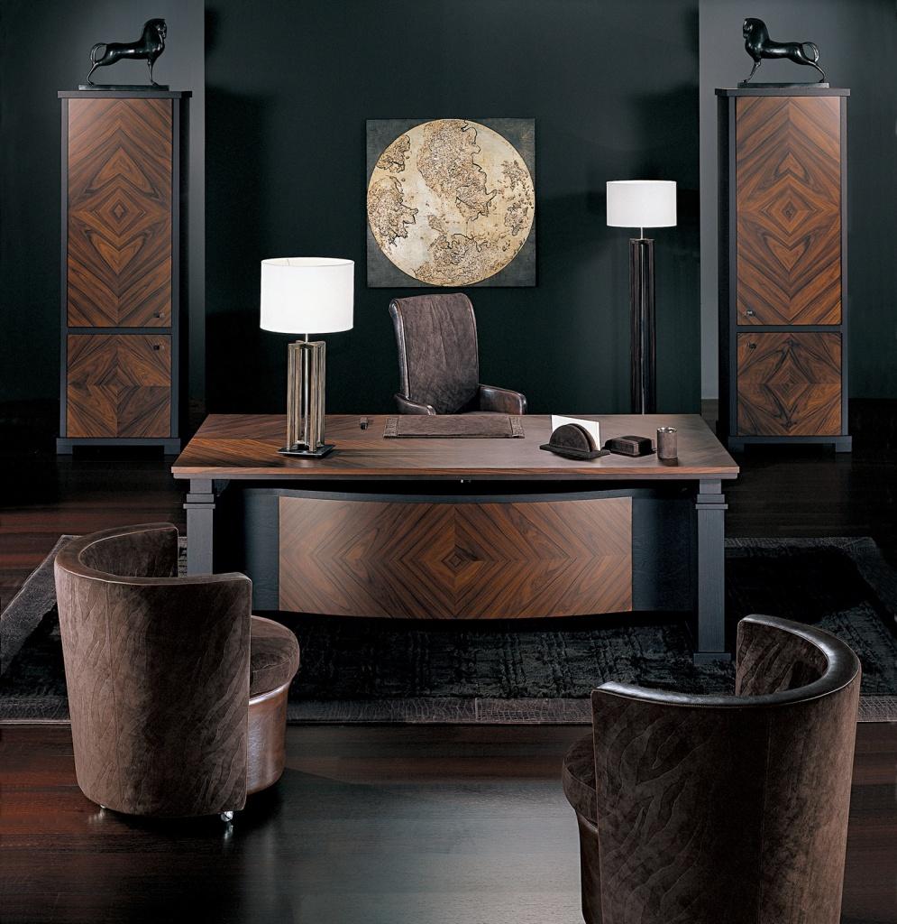 Коричнево-черная мебель в кабинете в стиле арт-деко