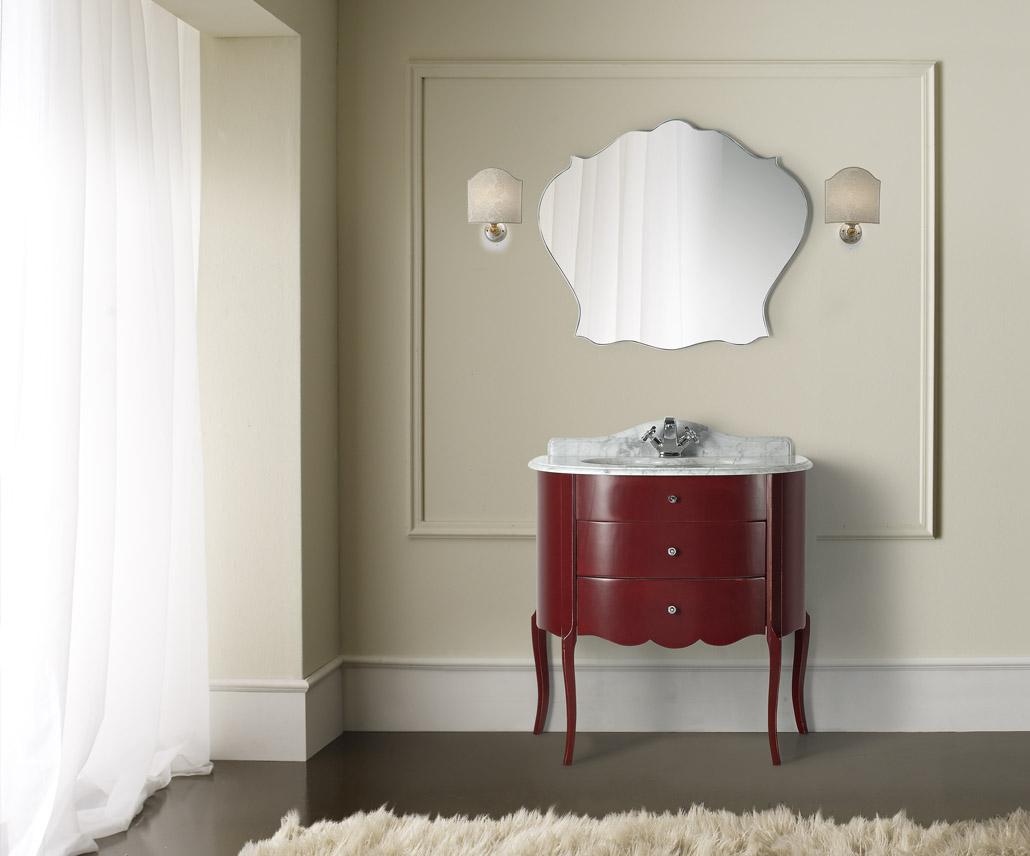Красно-белая тумба в стиле арт-деко в ванной