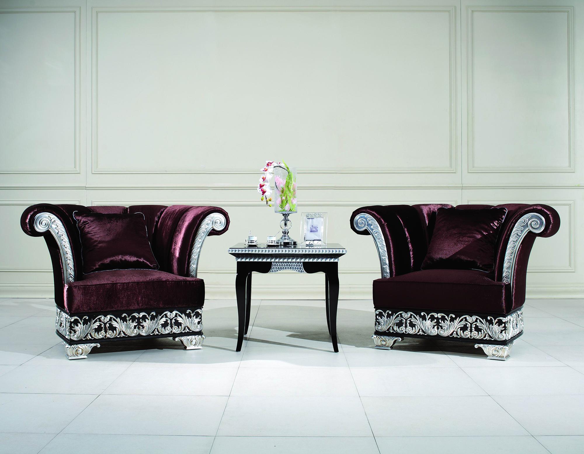 Красивые кресла и столик для гостиной арт-деко