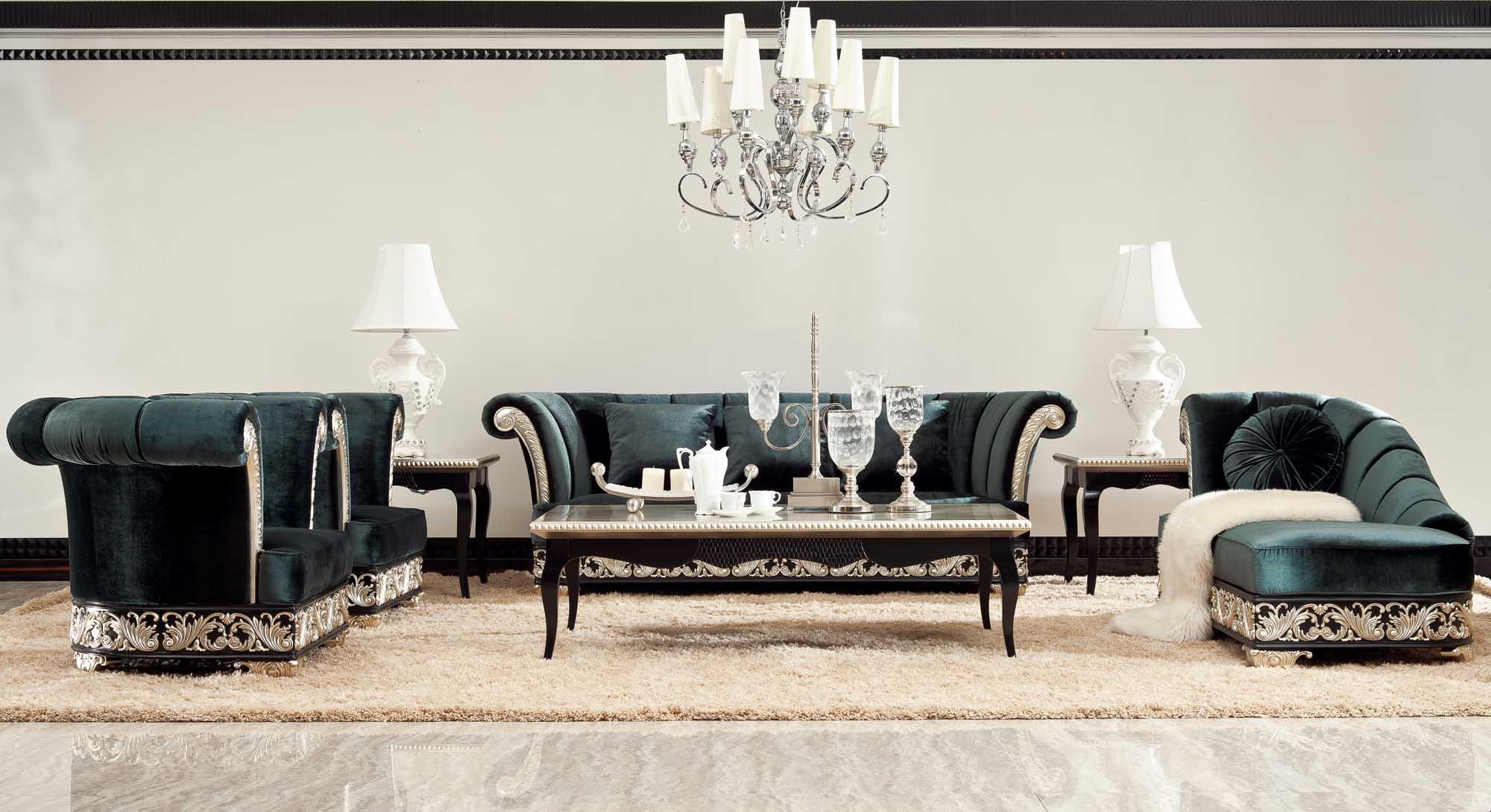 Красивый диван, кресла и журнальный стол в стиле арт-деко