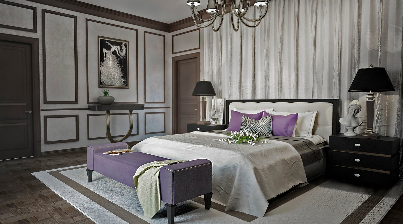 Черно-фиолетовая мебель в стиле арт-деко в спальне
