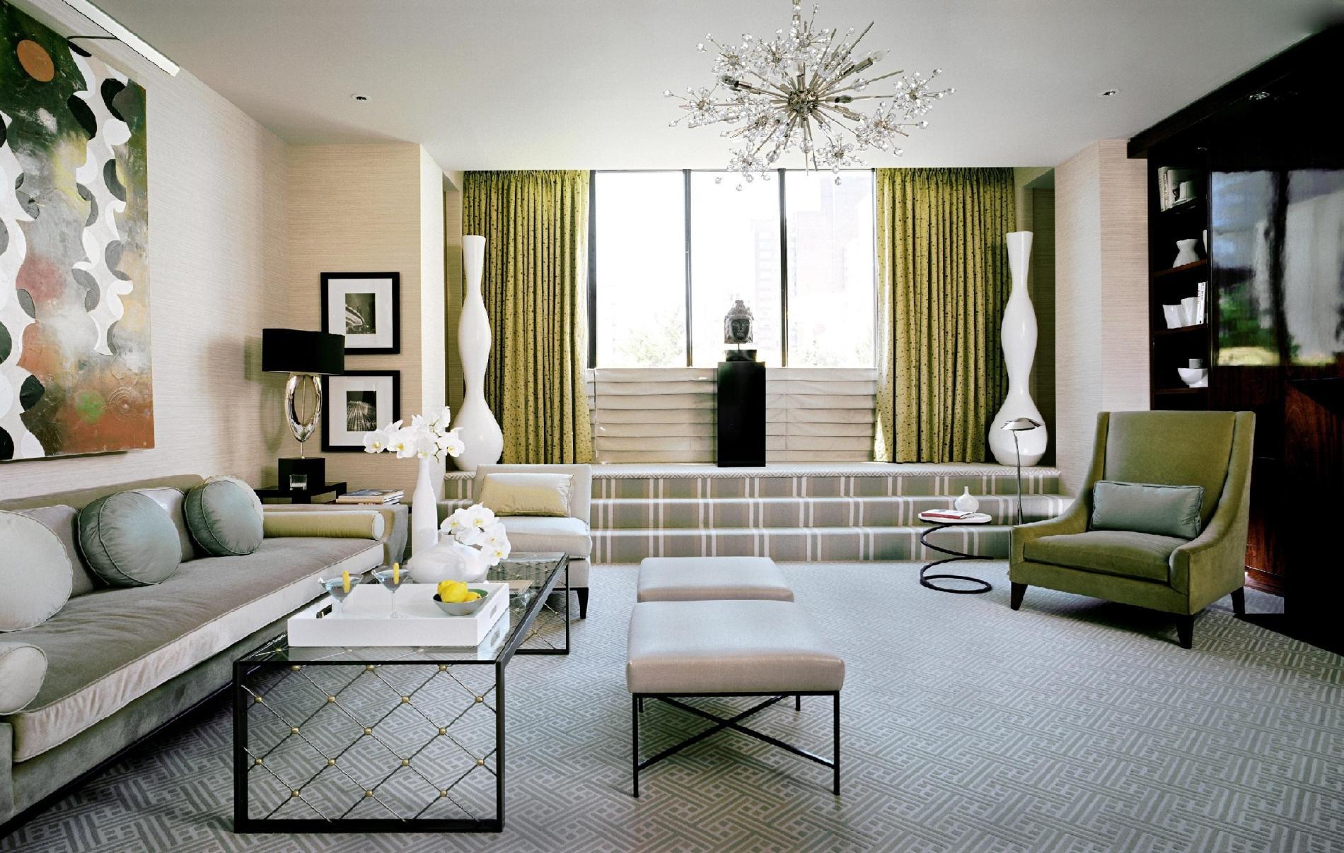Зеленая и серая мебель в стиле арт-деко в гостиной