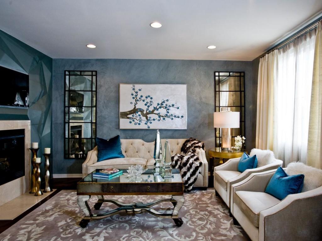 Бежевый диван и кресла в гостиной арт-деко